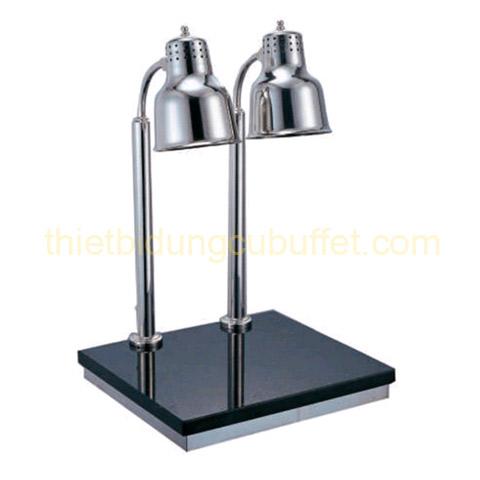 Đèn hâm thức ăn buffet 2 bóng inox trắng đế đá chữ nhật EAST 121367