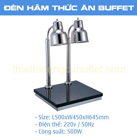Thông số đèn hâm nóng thức ăn buffet 2 bóng inox trắng đế mặt đá chữ nhật