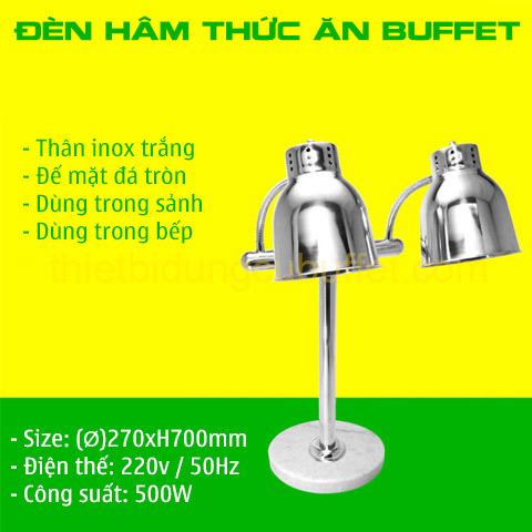 Thông số đèn hâm nóng thức ăn buffet 2 bóng inox trắng đế mặt đá