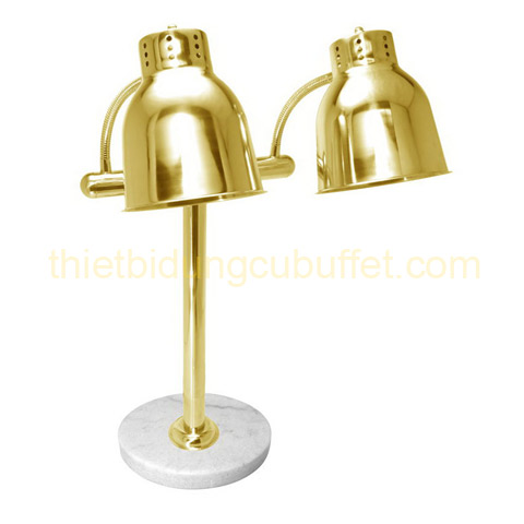 Đèn hâm nóng thức ăn 2 bóng inox vàng đế đá tròn EAST 121862