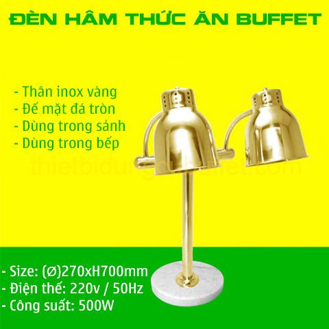 Thông số đèn hâm nóng thức ăn buffet 2 bóng inox vàng đế mặt đá