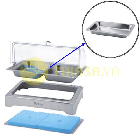 Khay inox đựng thức ăn buffet chữ nhật giữ lạnh nắp PC