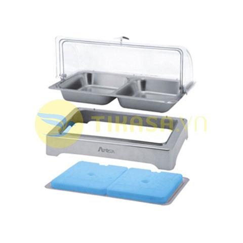 Khay inox đựng thức ăn buffet chữ nhật giữ lạnh nắp PC KB2721