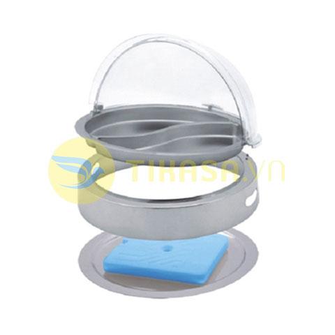Khay inox đựng thức ăn buffet tròn giữ lạnh nắp PC KB2722