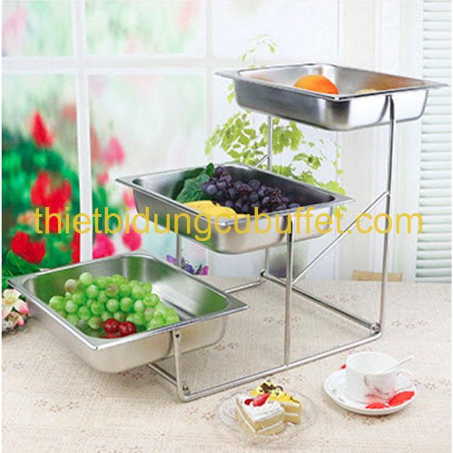 cho thuê kệ trưng bày thức ăn (bánh kẹo trái cây) 3 tầng